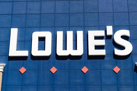 August 7, 2019 Sunnyvale / CA / USA - Lowe's Logo displayed above one of their locations in South San Francisco bay area Editorial