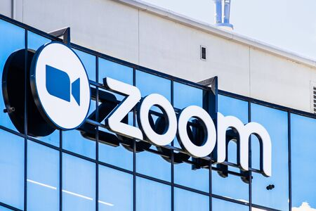 September 3, 2019 San Jose / CA / USA - Close up of Zoom sign at their HQ in Silicon Valley; Zoom Video Communications is a company that provides remote conferencing services using cloud computing 新闻类图片