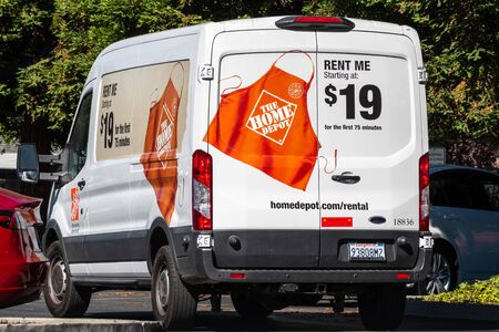 August 15, 2019 Palo Alto / CA / USA - Close up of The Home Depot moving van available for rental