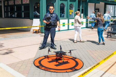 August 29, 2019 Sunnyvale / CA / USA - Police officer presenting the drone program at the