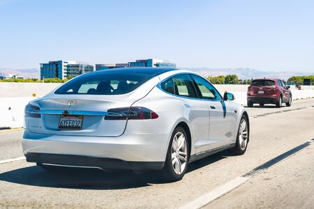 August 31, 2019 Mountain View  CA  USA - Tesla Model S driving on the freeway in Silicon Valley, south San Francisco bay area Editorial