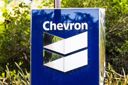 Sep 25, 2019 San Ramon / CA / USA - Chevron sign at their corporate headquarters in San Francisco bay area; Chevron Corporation is an American multinational energy corporation Redactioneel
