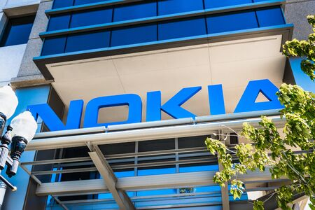Sep 23, 2019 Sunnyvale  CA  USA - Nokia sign at their office building in Silicon Valley; Nokia Corporation is a Finnish multinational telecommunications and consumer electronics company