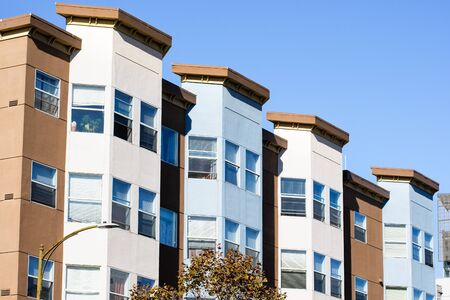 Exterior view of multifamily residential building; South of Market District, San Francisco