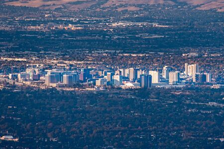 Aerial view of the buildings in downtown San Jose at sunset; Silicon Valley, California