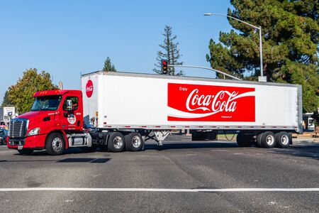 Oct 14, 2019 Mountain View  CA  USA - Coca Cola truck driving on a street in San Francisco Bay Area Editorial
