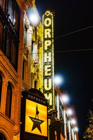 Oct 16, 2019 San Francisco / CA / USA - Night view of the SHN Orpheum Theatre facade on Market Street;  The successful musical Hamilton is being played at this moment at the venue Editorial