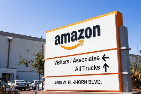 August 23, 2019 Sacramento / CA / USA - Amazon Fulfillment Center and Warehouse near Sacramento International Airport (SMF)