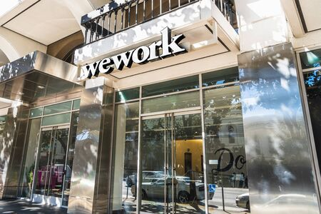 Oct 20, 2019 San Jose  CA  USA - WeWork office building located in Silicon Valley; WeWork is an American company that provides shared work spaces