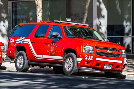 Oct 20, 2019 San Jose / CA / USA - San Jose Fire Department (SJS) vehicle stationed in the downtown area