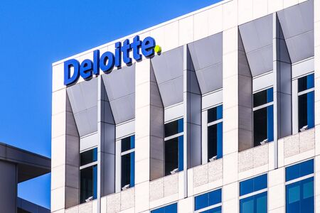 Oct 20, 2019 San Jose  CA  USA - Deloitte offices in downtown San Jose, south San Francisco bay area; Deloitte Touche Tohmatsu Limited is one of the Big Four accounting organizations