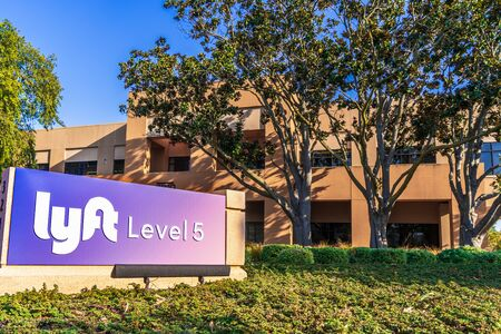 Oct 27, 2019 Palo Alto  CA  USA - Lyft Level 5 headquarters in Silicon Valley; Lyft Level 5 the self-driving division of Lyft Inc (a ridesharing Company)