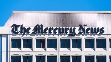 Oct 20, 2019 San Jose  CA  USA - The Mercury News logo on the facade of the newspapers headquarters; The Mercury News is a morning daily newspaper published in San Jose, Silicon Valley Redakční