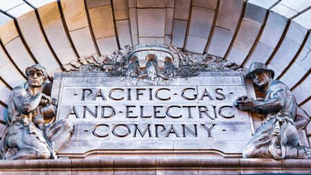 Oct 26, 2019 San Francisco  CA  USA - Close up of PG&E ( Pacific Gas and Electric Company) sign at their historical headquarters in downtown San Francisco; Redakční