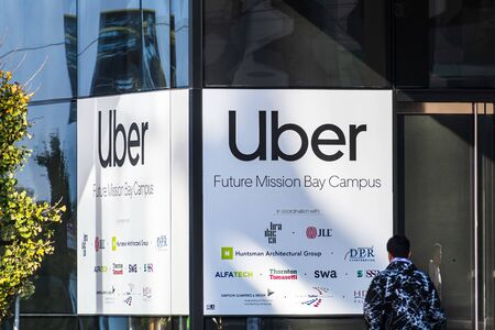 Nov 2, 2019 San Francisco / CA / USA - The future Uber headquarters in a new building in the Mission Bay District; Uber Technologies, Inc. is an American multinational transportation network company Sajtókép