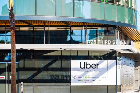 Nov 2, 2019 San Francisco  CA  USA - The future Uber headquarters in a new building in the Mission Bay District; Uber Technologies, Inc. is an American multinational transportation network company
