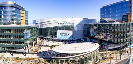 Nov 2, 2019 San Francisco  CA  USA - High angle view of the newly opened Chase Center arena and the new UBER headquarters in the Mission Bay District Redakční