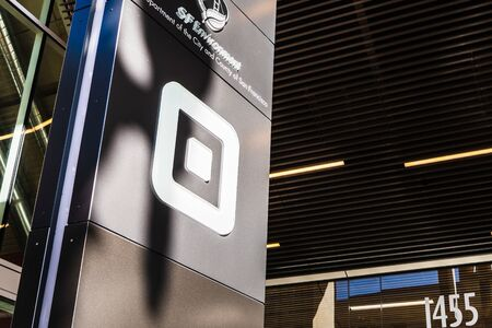 Aug 21, 2019 San Francisco  CA  USA - Close up of Square sign at their headquarters in SoMa district; Square, Inc. is a financial services, merchant services aggregator, and mobile payment company Redakční