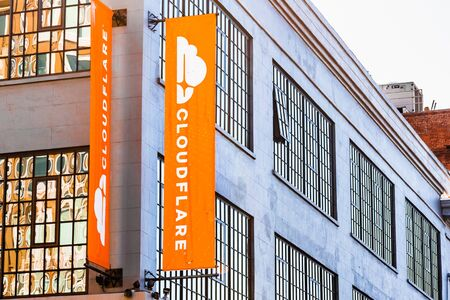Nov 2, 2019 San Francisco  CA  USA -  Exterior view of Cloudflare headquarters; Cloudflare, Inc. is an Ameircan web infrastructure and website security company