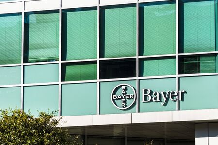 Nov 2, 2019 San Francisco  CA  USA - Bayer offices located in Mission Bay District; Bayer AG is a German multinational pharmaceutical and life sciences company, one of the largest in the world
