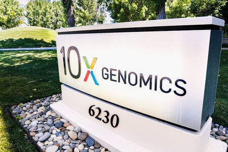 August 25, 2019 Pleasanton  CA  USA - 10x Genomics headquarters in Silicon Valley; 10x Genomics is an American biotechnology company that designs and manufactures gene sequencing technology