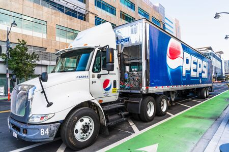 Nov 2, 2019 San Francisco  CA  USA - Pepsi truck making deliveries in the Mission Bay District; PepsiCo, Inc. is an American multinational food, snack, and beverage corporation