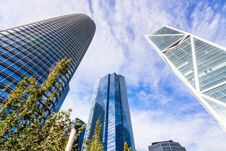 Oct 26, 2019 San Francisco  CA  USA - Salesforce, Millenium and 181 Fremont Street towers surrounding the Salesforce Transit Center Park in South of Market District