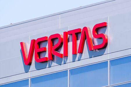 Sep 10, 2019 Santa Clara  CA  USA - Veritas logo on the facade of the Companys headquarters in Silicon Valley; Veritas Technologies LLC is an American international data management company Redakční