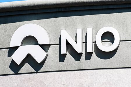 September 9, 2019 San Jose  CA  USA - NIO sign at their headquarters in Silicon Valley; Nio is a Chinese automobile manufacturer specializing in designing and developing electric autonomous vehicles