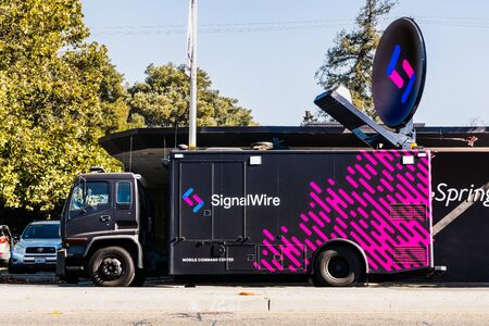 Oct 7, 2019 Palo Alto  CA  USA - SignalWire vehicle parked on a street; SignalWire Inc provides commercial cloud telecommunication services Sajtókép