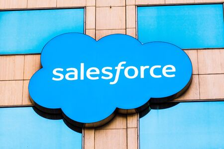 Oct 26, 2019 San Francisco  CA  USA - Close up of Salesforce logo displayed on one of their towers in downtown San Francisco