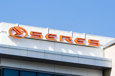 Nov 1, 2019 Santa Clara  CA  USA - Close up of Seres (formerly known as SF Motors Inc, electric vehicles producer) logo at their offices in Silicon Valley;