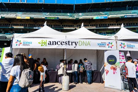 Nov 2, 2019 San Francisco  CA  USA - People visiting the Ancestry DNA exhibition at the Bay Area Science festival