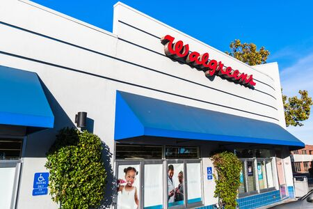 October 24, 2019 Sunnyvale  CA  USA - Walgreens pharmacy local branch; Walgreens (part of  Walgreens Boots Alliance Inc. holding) operates the second-largest pharmacy store chain in the USA