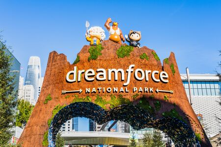 Nov 17, 2019 San Francisco  CA  USA - Dreamforce annual convention taking place at Moscone Center; Dreamforce is an annual user conference hosted by Salesforce.com in downtown San Francisco