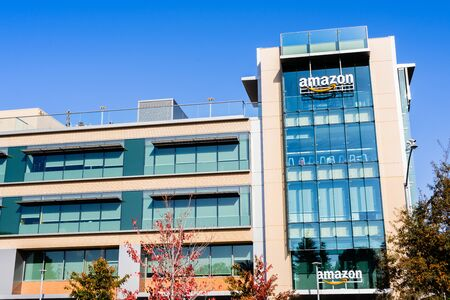 Nov 22, 2019 Palo Alto / CA / USA - Exterior view of one of Amazon corporate office buildings located in Silicon Valley, San Francisco bay area