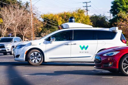 Nov 22, 2019 Mountain View / CA / USA - Waymo self driving car performing tests on a street near Google's offices, Silicon Valley; Waymo, a subsidiary of Alphabet, is developing an autonomous car