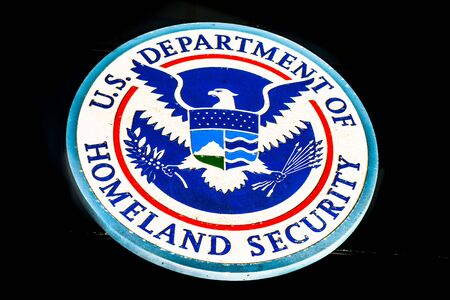 Nov 17, 2019 San Francisco / CA / USA - U.S. Department of Homeland Security Seal located at one of their buildings in downtown San Francisco Sajtókép
