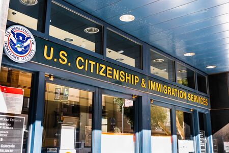 Nov 17, 2019 San Francisco / CA / USA - U.S. Citizenship and Immigration Services (USCIS) office located in downtown San Francisco; USCIS is an agency of the U.S. Department of Homeland Security (DHS)