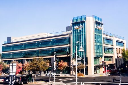 July 26, 2019 Palo Alto / CA / USA - One of Amazon office buildings located across the street from Palo Alto Caltrain station, in Silicon Valley, San Francisco bay area