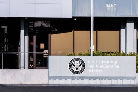 Nov 20, 2019 Santa Clara / CA / USA - U.S. Citizenship and Immigration Services (USCIS) office located in Silicon Valley; USCIS is an agency of the U.S. Department of Homeland Security (DHS) Sajtókép
