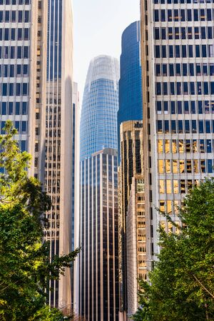 Urban skyline with tall residential and office buildings in South of Market district, San Francisco, California