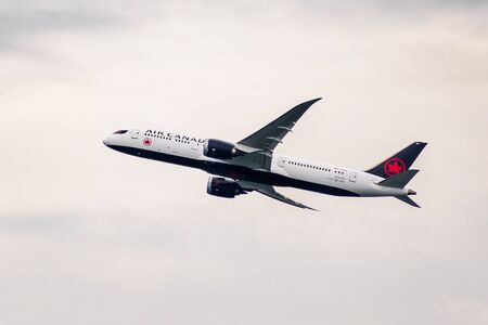 Dec 3, 2019 San Francisco / CA / USA - Delta Airlines aircraft taking off from San Francisco International Airport (SFO) on a cloudy day