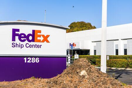 Oct 27, 2019 Santa Clara / CA / USA - FedEx Ship Center exterior view Editorial