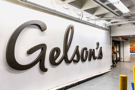 Dec 8, 2019 Los Angeles / CA / USA - Gelson's logo at the entrance to one of Gelson's Markets stores; Gelson's is an American regional supermarket chain operating in Southern California