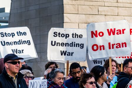 January 4, 2020 San Jose / CA / USA - Anti-war protest in front of the Cityhall in downtown San Jose;