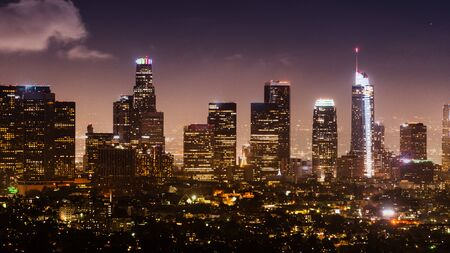 Aerial night view of Los Angeles Financial District skyline; California