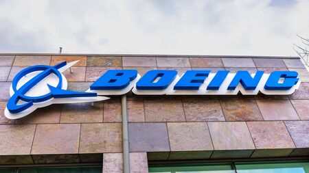 Jan 9, 2020 Menlo Park / CA / USA - Boeing sign at their office building housing the subsidiary Aurora Flight Sciences, which develops special-purpose Unmanned aerial vehicles; Silicon Valley
