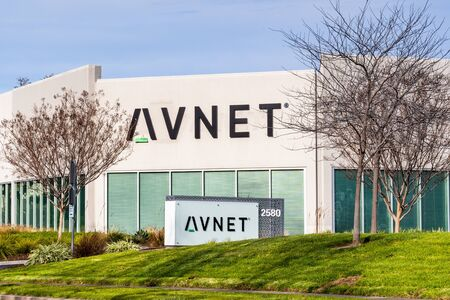 Jan 12, 2020 San Jose / CA / USA - Avnet headquarters in Silicon Valley; Avnet, Inc. is a distributor of electronic components headquartered in Phoenix, Arizona Sajtókép
