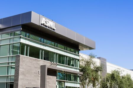 Oct 9, 2019 San Jose / CA / USA - ASML headquarters in Silicon Valley; ASML, a Dutch company, is currently the largest supplier in the world of photo-lithography systems for the semiconductor industry Editorial